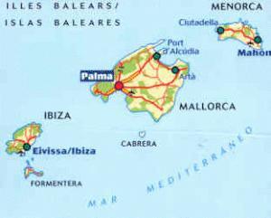Cartina Spagna Baleari.Isole Baleari